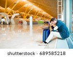 man upset at the airport his...   Shutterstock . vector #689585218