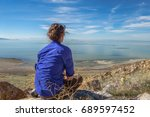 woman looking into distance at... | Shutterstock . vector #689597452