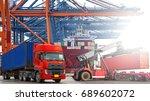 double exposure industrial... | Shutterstock . vector #689602072