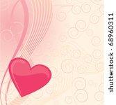 pink vector heart on abstract... | Shutterstock .eps vector #68960311