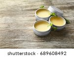 containers with lemon balm... | Shutterstock . vector #689608492