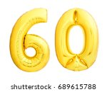 golden number 60 sixty made of... | Shutterstock . vector #689615788