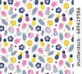 cute seamless floral vector... | Shutterstock .eps vector #689619586