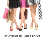 young women with beautiful legs ... | Shutterstock . vector #689619706