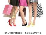 young women with beautiful legs ... | Shutterstock . vector #689619946