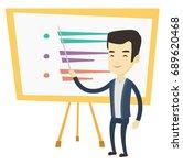 asian teacher standing in front ... | Shutterstock .eps vector #689620468