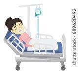 asian patient in oxygen mask... | Shutterstock .eps vector #689620492