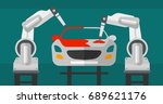 robotic arm painting car in... | Shutterstock .eps vector #689621176