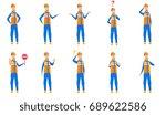 young caucasian builder set.... | Shutterstock .eps vector #689622586