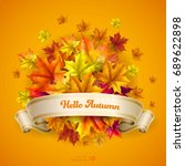 abstract autumn background.... | Shutterstock .eps vector #689622898