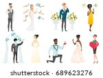groom  bride and wedding scenes ... | Shutterstock .eps vector #689623276
