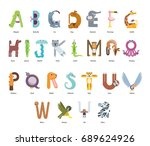 cute colorful children zoo a z... | Shutterstock .eps vector #689624926
