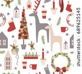 christmas seamless  vector... | Shutterstock .eps vector #689625145