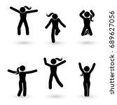 stick figure happiness  freedom ... | Shutterstock . vector #689627056