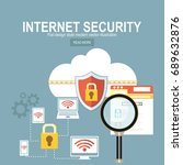 security and cloud technology... | Shutterstock .eps vector #689632876