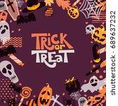 vector halloween square frame... | Shutterstock .eps vector #689637232