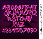 font retro  graffiti | Shutterstock .eps vector #689640592