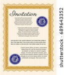 orange formal invitation. with... | Shutterstock .eps vector #689643352