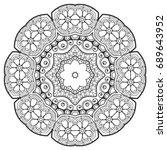 outline mandala for coloring... | Shutterstock .eps vector #689643952