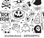 hand drawn halloween seamless... | Shutterstock .eps vector #689648992