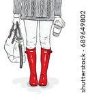 stylish rubber boots  jeans  a... | Shutterstock .eps vector #689649802