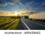 trucks driving towards the... | Shutterstock . vector #689658682
