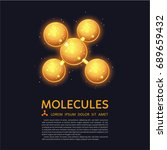 abstract gold molecules design. ... | Shutterstock .eps vector #689659432
