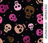 cute human skulls seamless... | Shutterstock .eps vector #689661502
