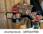 Stock photo retro party set glasses hats lips mustaches masks design photo booth party wedding funny 689664988