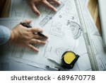 hand of engineering use a... | Shutterstock . vector #689670778