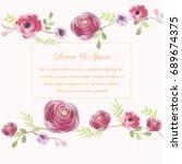 vintage beautiful purple pink... | Shutterstock .eps vector #689674375