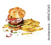 angus burger with fries.... | Shutterstock . vector #689676265