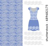 pattern. lace. blue dress with...   Shutterstock .eps vector #689682175