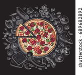 set of pizza ingredients in... | Shutterstock .eps vector #689682892