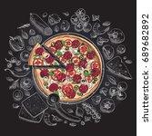 set of pizza ingredients in... | Shutterstock .eps vector #689682892