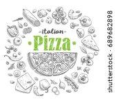 set of pizza ingredients in...   Shutterstock .eps vector #689682898