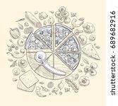 set of pizza ingredients in... | Shutterstock .eps vector #689682916