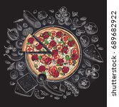 set of pizza ingredients in... | Shutterstock .eps vector #689682922