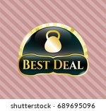 golden emblem or badge with... | Shutterstock .eps vector #689695096