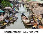 tha kha floating market  samut... | Shutterstock . vector #689705695