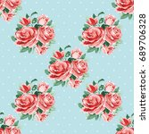 seamless floral pattern with... | Shutterstock .eps vector #689706328