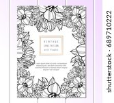invitation with floral... | Shutterstock . vector #689710222