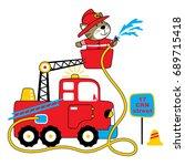 Stock vector firefighter vector cartoon illustration 689715418