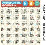 commerce icon set vector | Shutterstock .eps vector #689725402