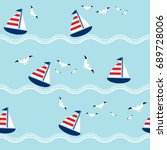 seamless pattern with sailing... | Shutterstock .eps vector #689728006
