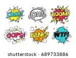 comic speech bubbles set with... | Shutterstock . vector #689733886