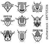 set of fencing sport emblems ... | Shutterstock .eps vector #689735206