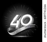40 years silver anniversary... | Shutterstock .eps vector #689741266
