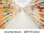 supermarket aisle with product... | Shutterstock . vector #689741662