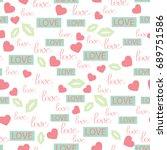 love seamless pattern. romantic ... | Shutterstock .eps vector #689751586
